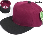 KIDS Jr. Plain Snap back Hats Wholesale - Two Tone - Burgundy | Black