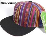 KIDS Jr. Plain Snap back Hats Wholesale - Aztec MultiColor Stripes -Black Brim