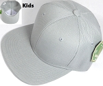 Kids Blank Snapback Hats Wholesale - Light Grey