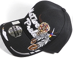 Wholesale Native Pride Baseball Cap - Buffalo Skull - Black