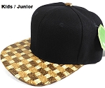 JUNIOR KIDS - Wholesale Blank Snapback Cap - Cork Woodbrim - Hay Strawmesh
