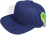 Wholesale Blank Snapback Cap - Denim Dark Stone - Solid