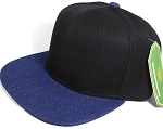 Wholesale Blank Snapback Cap - Denim Dark Stone - Two Tone Black Crown