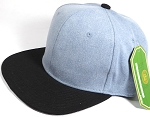 Wholesale Blank Snapback Cap - Denim Light Jean - Two Tone Black Brim