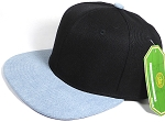 Wholesale Blank Snapback Cap - Denim Light Jean - Two Tone Black Crown