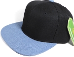 Wholesale Blank Snapback Cap - Denim Medium Jean - Two Tone Black Crown