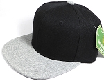 Wholesale Blank Snapback Cap - Denim Light Grey Indigo - Two Tone Black Crown