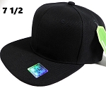 Fitted Size Caps - Wholesale Plain Hat - 7 1/2 - Black