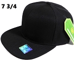 Fitted Size Caps - Wholesale Plain Hat - 7 3/4 - Black