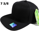 Fitted Size Caps - Wholesale Plain Hat - 7 3/8 - Black