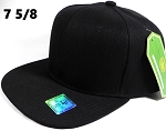 Fitted Size Caps - Wholesale Plain Hat - 7 5/8 - Black