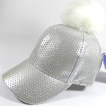 Wholesale Shiny Plain BallCaps - Faux Fur Pom Pom Hat - Silver