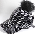 Wholesale Shiny Plain BallCaps - Faux Fur Pom Pom Hat - Black