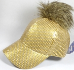 Wholesale Shiny Plain BallCaps - Faux Fur Pom Pom Hat - Gold