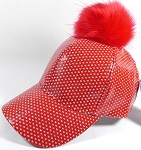 Wholesale Shiny Plain BallCaps - Faux Fur Pom Pom Hat - Red