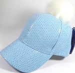 Wholesale Shiny Plain BallCaps - Faux Fur Pom Pom Hat - Sky Blue