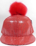 Wholesale Shiny Flatbill Blank Snapback Cap - Faux Fur Pom Pom Hat - Red