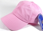 Washed 100% Cotton Plain Baseball Cap - Gold Metal Buckle - Light Pink