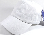 Washed 100% Cotton Plain Baseball Cap - Gold Metal Buckle - White