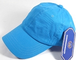 Washed 100% Cotton Plain Baseball Cap - Gold Metal Buckle - Turquoise / Deep Sky Blue