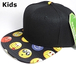 KIDS Jr. Wholesale Blank Snapback Emoji Caps - Black Crown - Black