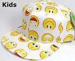 KIDS Jr. Wholesale Blank Snapback Emoji Caps - Solid - White