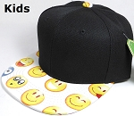 KIDS Jr. Wholesale Blank Snapback Emoji Caps - Black Crown - White