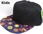 KIDS Jr. Wholesale Blank Snapback Emoji Caps - Black Crown - Navy