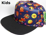 KIDS Jr. Wholesale Blank Snapback Emoji Caps - Black Brim - Navy