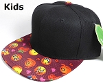 KIDS Jr. Wholesale Blank Snapback Emoji Caps - Black Crown - Burgundy