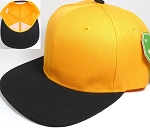 Blank Snapback Hats Caps Wholesale - Golden Yellow | Black