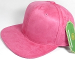 Wholesale Suede Blank Snapback Caps - Hot Pink - Solid