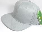 Wholesale Suede Blank Snapback Caps - Light Gray - Solid