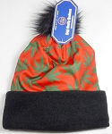 Wholesales Fashion Fur Pom Beanie Winter Hats - Cannabis - Red