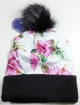 Wholesales Fashion Fur Pom Beanie Winter Hats - Hawaiian Hibiscus (Pink Floral)