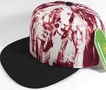 Wholesale Blank Art Pattern Snapbacks Hats - Wet Paint | Black Brim - Burgundy Tone