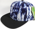 Wholesale Blank Art Pattern Snapbacks Hats - Wet Paint | Black Brim - Navy Blue Tone
