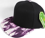 Wholesale Blank Art Pattern Snapbacks Hats - Wet Paint | Black Crown - Purple Tone