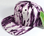 Wholesale Blank Art Pattern Snapback Caps - Solid Wet Paint - Purple
