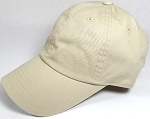 Washed 100% Cotton Blank Baseball Caps - New Strapback / Buckle - Beige