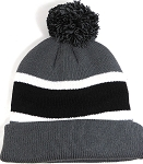 Beanies Wholesale | Pom Pom Beanies Trendy Winter Hats - Dark Gray and Black