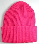 Wholesale Winter Knit Long Cuff Beanie Hats - Solid Hot Pink