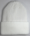 Wholesale Winter Knit Long Cuff Beanie Hats - Solid Snow White