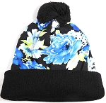 Wholesales Fashion Pom Pom Beanie Winter Hats - Floral - Blue Orchid