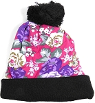 Wholesales Fashion Pom Pom Beanie Winter Hats - Floral - Hot Pink