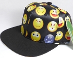 Wholesale Blank Snapback Caps - Emoji and Emoticons - Black - Black Brim