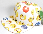 Wholesale Blank Snapback Caps - Emoji and Emoticons - White - Solid