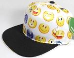 Wholesale Blank Snapback Caps - Emoji and Emoticons - White - Black Brim