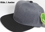KIDS JUNIOR Bulk Blank Snapback Cap - Denim Charcoal Grey - Black Brim