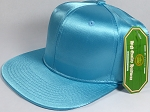 Crown Hat Original - Wholesale Faux Smooth Silk Blank Solid Snapback Caps - Sky Blue